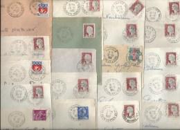 Lot De 18 Devants D´enveloppes + 2 Fragments Avec Cachets Manuels Divers - Stamps