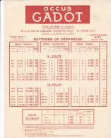 PUBLICITE (21 X 27 Cm) Sur Les Accus GADOT 6 Et 12 Volts - Et. GADOT 59 Et 61, Rue De L' Inductrie à COURBEVOIE (92) - Reclame