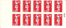 St Pierre Et Miquelon Booklet Scott #545a Pane Of 10 Overprint On France 2.50fr Marianne - Carnets