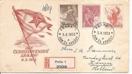 Tchécoslovaquie -Journée De L'armée ( FDC De 1953 Voyagé En Recommandé Vers Les Pays-Bas à Voir) - FDC