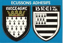 CARTE -AUTOCOLLANT-ECUSSON ADHESIF-BRETAGNE-BREIZH-TBE - Autocollants