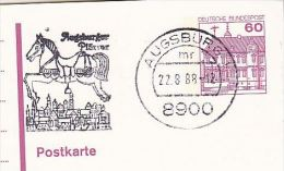 1988 Augsburg GERMANY Postal STATIONERY Illus SLOGAN Pmk CARNIVAL EVENT CAROUSEL HORSE Card Cover - Carnival