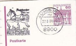 1988 Augsburg GERMANY Postal STATIONERY Illus SLOGAN Pmk CARNIVAL EVENT CAROUSEL HORSE Card Cover - Carnevale