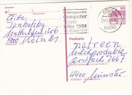 1984 Koln GERMANY Postal STATIONERY CARD SLOGAN Pmk INTERNATIONAL COMPUTER COMPUTER SHOW Computing Cover Stamps - Computers