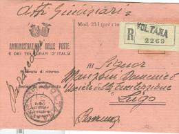 RICEVUTA DI RITORNO,MOD.23-1,REGNO D'ITALIA, STEMMI SABAUDO E LITTORIO ABBINATI,1929, RESO IN RACCOMANDATA,POSTE VOLTANA - Storia Postale