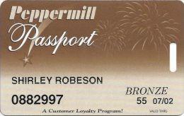 Peppermill Casino Reno, NV - 8th Issue Slot Card - No Web Address - 07/02 Senior - Casino Cards