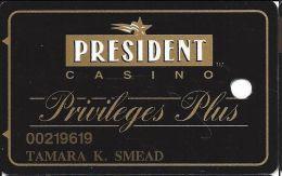 President Casino Davenport IA Privileges Plus Slot Card - Casino Cards