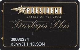 President Casino St. Louis MO - Slot Card - 12.5mm Wide Mag Stripe - Casino Cards