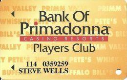 Primadonna Casino Primm, NV - Slot Card - Last Line ´of Age.´ - Period After NV - Black Mag Stripe - Casino Cards