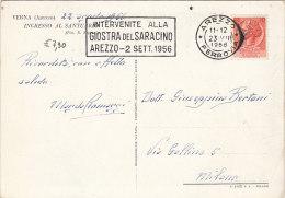 """1956 - Targhetta Arezzo """"Intervenite Alla Giostra Del Saracino """" Su Cartolina, Vedi 2 Foto - 6. 1946-.. Repubblica"""