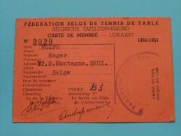 Carte De Membre - Lidkaart WOLFS Bruxelles 1950-51 N° 2029 ( Zie Foto Voor Détails ) ! - Tennis De Table