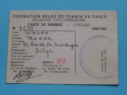 Carte De Membre - Lidkaart WOLFS Bruxelles 1949-50 N° 1428 ( Zie Foto Voor Détails ) ! - Tennis De Table