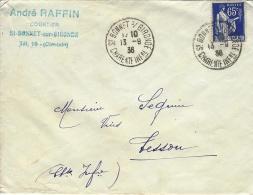 1938- Enveloppe Affr. 65 C Paix Oblit. Cad De St BONNET S/ GIRONDE / Charente Inf.re - Storia Postale