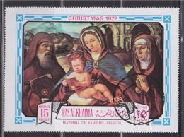 = 1 Timbre Ras Al Khaima Oblitéré Noël 1972 La Vierge Marie Avec L'Enfant - Previtali - Religieux