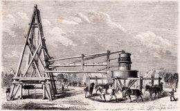 75. PARIS. Manège Et Treuil Employé Pour Le Forage Du Puits De Grenelle. 1871 - Unclassified