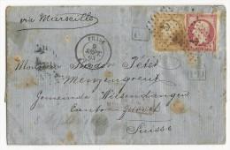 """1863 - LETTRE De ALEXANDRIE (EGYPTE) Pour WIESENDANGEN (SUISSE) Avec RARE OBLITERATION MARITIME """"PHASE"""" + ANCRE - 1849-1876: Période Classique"""