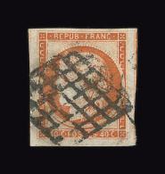 FRANCE N° 5 40c Orange Cérès. 4 Grandes Marges. Oblitération Grille. Signé Brun. Cote Yvert 500 €. TTB - 1849-1850 Ceres