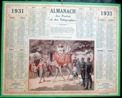 CALENDRIERS DES POSTES PTT 1931 ORIGINAL PROMENADE A DOS DE CHAMEAU - Big : 1921-40