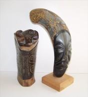 Ancienne Tabatière En Corne Et Corne Sculptée  Art Africain - Art Africain