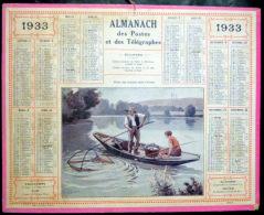 CALENDRIERS DES POSTES PTT 1933 ORIGINAL  PECHE AUX GOUJONS DANS L'YONNE - Big : 1921-40