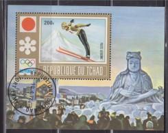 = Bloc 1 Timbre République Du Tchad Oblitéré Fort Lamy 10.4.72 Sapporo Jeux Olympiques Saut En Ski Au Tremplin - Hiver 1972: Sapporo