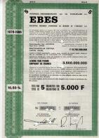 EBES - Verenigde Energiebedrijven Van Het Scheldeland; Titel Van 5 Obligaties Van 5.000F - Electricité & Gaz