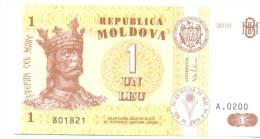 1 Leu 2010, P-8, UNC - Moldavie
