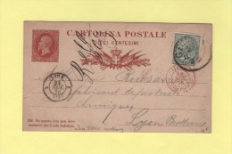 Genova - Entree Italie Lanslebourg (Lyon) - 24 Nov 1878 - Marcophilie