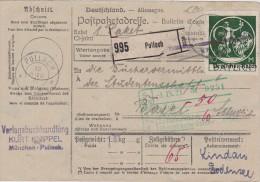 ALLEMAGNE  1921 COLIS POSTA LDE PULLACH - Deutschland