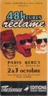 """Carte 9,5 X 19 Cm -    """"Les 48 Heures De La Réclame"""" à Paris-Bercy  - Banania, La Vache Qui Rit, Cadum - Advertising"""