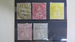 5 Stamps Swiss Suisse Helvetia Beige Pink Yellow Brown Grey 1977 1976 MI 29 30 31 34 35 (*) - Timbres