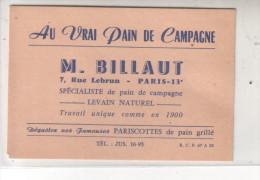 75 13è Carte De Visite - AUVRAI PAIN DE CAMPAGNE - M. BILLAUT SPECIALISTE De Pain De Campagne - LEVAIN NATUREL ... - Cartes De Visite