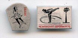 EUROPEAN FIGURE SKATING CHAMPIONSHIP Leningrad 1970 PATINAGE Artistique  Lot 2 Pins Broche - Patinaje Artístico