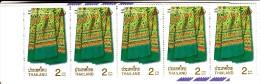 Thailand Booklet Scott #1865 Pane Of 5 2b Thai Silk Design - Heritage Conservation Day - Thaïlande