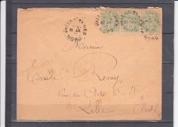 Lettre De VALENCIENNES  Nord   Le 25 Juillet 1901  Pour LILLE Avec Une BANDE De 3 Type Blanc 5c Vert-jaune - 1900-29 Blanc