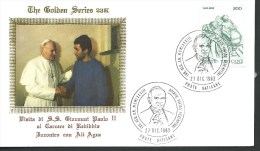 1983. COVER. THE GOLDEN SERIES  23 K. POPE J.P.II  MEETING ALI  AGEA - Covers & Documents