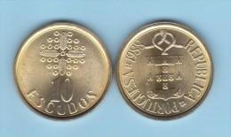 PORTUGAL  (República)  10 Escudos 1.988 Niquel-Latón  KM#633  SC/UNC    T-DL-11.664 - Portogallo