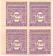 Bloc 4 Timbres  Arc De Triomphe De L'Etoile 2,5f N°626 Violet 1944 - 1944-45 Arco Del Triunfo