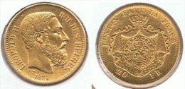 BELGICA LEOPOLDO II 20 FRANCS FRANCOS 1871 ORO GOLD A58 - 1865-1909: Leopoldo II