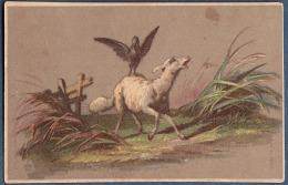 Chromo Sans Publicité Litho Bognard 5 Rue De La Perle Paysage De Campagne Agneau Mouton Avec Un Corbeau - Trade Cards