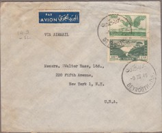BEYROUTH 1949 / N° PA 9 Et 52 + Grand Liban Timbre Fiscal Bleu-vert Surchargé Pour NEW-YORK... - Liban
