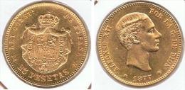 ESPAÑA ALFONSO XII 25 PESETAS 1877 ORO GOLD A34 - [ 1] …-1931 : Reino