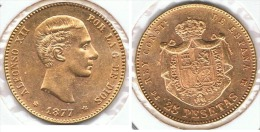 ESPAÑA ALFONSO XII 25 PESETAS 1877 ORO GOLD A35 - [ 1] …-1931 : Reino