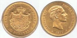 ESPAÑA ALFONSO XII 25 PESETAS 1877 ORO GOLD A36 - [ 1] …-1931 : Reino
