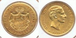 ESPAÑA ALFONSO XII 25 PESETAS 1878 ORO GOLD A38 - [ 1] …-1931 : Reino