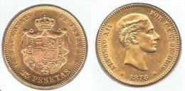 ESPAÑA ALFONSO XII 25 PESETAS 1878 ORO GOLD A41 - Colecciones