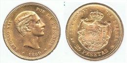 ESPAÑA ALFONSO XII 25 PESETAS 1880 ORO GOLD A44 - [ 1] …-1931 : Reino
