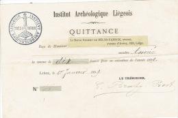 Reçu De 1899 De Monsieur Le Baron Robert De SELYS-FANSON Pour L'INSTITUT ARCHEOLOGIQUE LIEGEOIS - Belgium