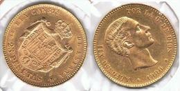 ESPAÑA ALFONSO XII 25 PESETAS 1880 ORO GOLD A45 - [ 1] …-1931 : Reino