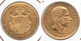 ESPAÑA ALFONSO XII 25 PESETAS 1881 ORO GOLD A48 - [ 1] …-1931 : Reino